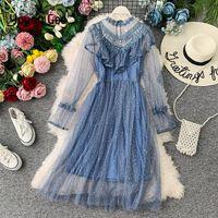 Vestidos casuales Joven Gee 2021 Otoño Invierno Vintage Lace Floral Midi Vestido Elegante Mujeres Partido de manga larga Perlas de malla de abalorios Ruffles