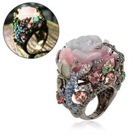 Cluster Rings Vintage Black Gold Ring Peony Flower Tree Vine Natural Stone Lizard Handmade Jewelry Lady Multi-Color Punk Size 6-10