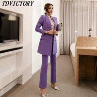 TDvictory 한국어 고품질 여성 작업 두 조각 세트 비즈니스 정식 이중 가슴 긴 블레이저 코트 슬림 OL 바지 210602