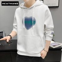 Men's Hoodies & Sweatshirts Youth Male Autumn Hooded Sweater Jacket Warm Junior High School Student Handsome Print Pullovers Coats