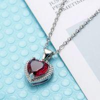 Rouge Diamond Coeur Pendentif Collier Stainels Steel Chaîne Femmes Filles Colliers Rouge Vert Cristal Fashion Bijoux Cadeau Will et Sandy