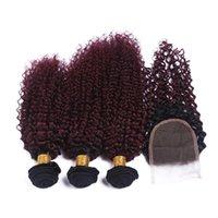2 톤 1B / 99J 와인 레드 옴 브레 킨키 곱슬 페루 버진 인간의 머리카락 짜기 3BLED 뿌리 BURGUNDY OMBRE 4x4 레이스 폐쇄 EJACL