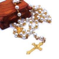 Golden Pearl Rosário Grânulos Colar de Jóias Cross Catholic Catholic Supplies