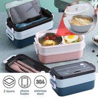 Louça de jantar Sets Ykpuii Lunch Box Bento para Trabalhador de Escritório Estudante Dupla Camada de Microondas Armazenamento de Recipiente de Aquecimento