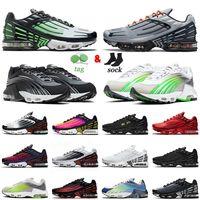 2021 Män Kvinnor Running Shoes Plus TN 2 3 II III Tuned Leather Triple White Deep Royal Blå Svart Reflektera Silver Röd Rosa RNNER Tränare Sport Sneakers Storlek 36-45