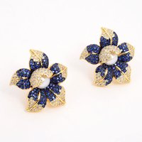 GuaiGuai Jewelry Cz Pave Pearl Earrings White Pearl Yellow Golden Plated Blue Cz Flower Earrings Handmade For Women Real Gems Stone Lady Fashion Jewellry