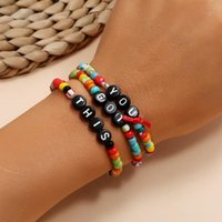 Charm Bracelets 3PCS Set Geometric Letter YOU DOT THIS Candy Color Acrylic Round Bracelet For Women Fashion Handmade Jewelry Gifts