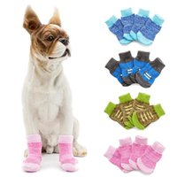 Dog Apparel Pet Cute Non-skid Knitted Cotton Socks For Small And Medium Dogs Puppy Warm Winter Walk With Shoelace Printing Style