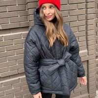 Women's jackets Cp Casual Loose Arygle Hooded Parka Women Fashion Solid Fat Short Elegant Tie Belt Cato