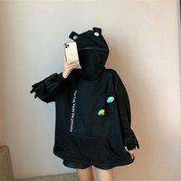 Deeptown Frog Hoodie Winter Fashion Fashizia Felpa Donne Manica lunga Pullover Casual Top Allentati Black Plus Velvet Hoodie 210728