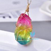 Albero della vita fatta a mano pendente di cristallo Moda Electroplate minerali minerali minerali cristalli crudi per uomini donne colorate gioielli guarigione