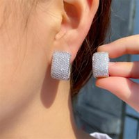 Choucong Brand Unique Ear Cuff Sparkling Deluxe Jewelry 18K Gold Stunning Pave Full Nine Rows Party White Sapphire CZ Diamond Women Wedding Clip Earring Gift