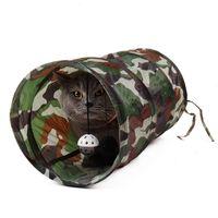 2021 Новые домашние животные Двухместный камуфляж смешной котенок туннель два шара играют на горячие массовые игрушки кота !! Место для сна zzzo