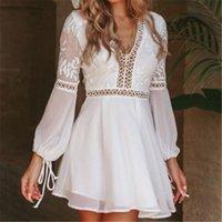 Verano mujer con cuello en v manga larga hueco fuera vestido de moda casual casual sexy encaje blanco alta cintura soldress playa vacaciones vestidos