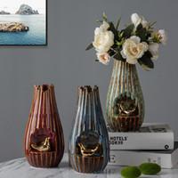 Vasi classici retrò forno trasformato 3D tridimensionale animale ceramica vaso bella dorata uccello artistico decorazione piccola