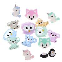 50pc Silicone Licorne Teher Beads Perles Animal BPA Gratuit Baby Baby Dentition Collier Sensorial Porte-sucette Douche Toy Food Grade Rongeurs 210311