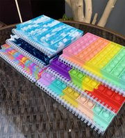 NEW!!! Tie Dye Rainbow Fidget Spiral Notebook A5 Push Bubble Cover Notebooks School Stationery Kids Girls Boys Christmas Gift Toys