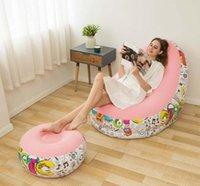 Graffiti-faul-aufblasbares Sofa mit Pedal-Kombination aufblasbarer Liege-Recliner tragbares Büro-Nickerchen-Sofa-Freizeit-Freizeit