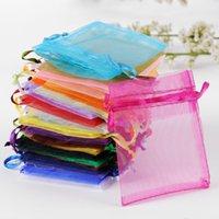 Bolsas de regalo de tul 100 unids / lote 10x15cm bolsas de organza baratas Pequeñas bolsas de caramelo para favores y regalos de boda pueden personalizar el logotipo