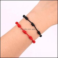 Charm Bracelets Jewelry Sell Rope String Knot Red Lucky Love Coupple Bracelet Adjustable Size Gift For Lovers Drop Delivery 2021 Nwv4U