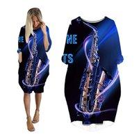 عارضة فساتين ميدي اللباس امرأة الموسيقية ساكسفون غيتار 3d الطباعة الأزياء الجيب المتناثرة إمرأة الشارع الشهير زائد حجم الملابس