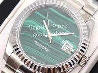 Top Men's 36mm Verde Malachite Dial Relógios Automático 2824 Movimento Assista Homens Data Time 116238 ETA Superlativa 904L Aço Relógios