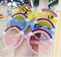 New style Rainbow Children Sun Baby Cartoon Sunglasses for cute little girls goggles Sunglasses 10pcs/lot Glasses 7color.