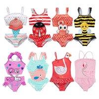 2021 الصيف لطيف الفتيات واحدة قطعة واحدة المايوه monokini الكرتون المطبوعة ملابس الأطفال أزياء أطفال عارضة بحر الاستحمام دعوى للأطفال الفتيات G63KORA