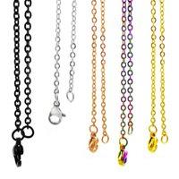 14 '' - 20 '' 36cm-51cm 2mm redondo aço inoxidável cabo plano o chians homens mulheres cadeias de jóias