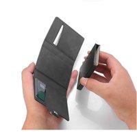 BYCOBECY 2020 Yeni İş Düğmesi RFID Anti-Hırsızlık Kredi Kartı Tutucu PU Alüminyum Erkekler Cüzdan Çok Fonksiyonlu Kart Durumda O Jljxs