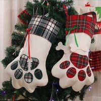 عيد الميلاد تخزين مغرد كلب باو هدية حقيبة منقوشة عيد جوارب شجرة عيد الميلاد الحلي زينة حزب ديكور