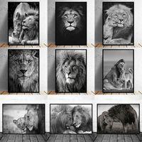 Africano animal salvaje león familia león cabeza pinturas pinturas cartel impresión cuadrados arte de pared para la sala de estar decoración del hogar