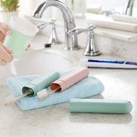 Caja de cepillo de dientes de viaje portátil Caja de cepillo de dientes de paja de trigo Multifusión Titular de cepillo de dientes para viajar Viaje de negocios de camping 754 K2