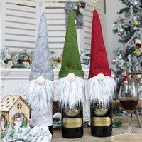New Christmas Gift Bag Decorações Santa Claus Bag Garrafa de Vidro Garrafa De Garrafa De Natal Decoração De Champanhe Vinho Saco YHM119-1 ZWL