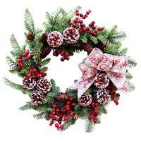 Decorative Flowers & Wreaths 50cm Christmas Wreath Artificial Flower Wall Door Hanging Simulation Garland Home Wedding Decoration