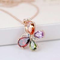 HBP роскошные японские и корейские преувеличенные моды Trend Trend семь цвет бабочки кристалл ожерелье ювелирные изделия женский подарок