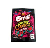 2021 New ERRLLI SAUR TERP Crawlers Borse 600mg Gummy Edibles Confezione Mylar Bag Oldo Proof Biscotti Mylar Bags 3.5G