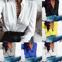 Женские топы и блузки с длинным рукавом леди кардиган с кнопкой мода женщины рубашки рубашки отворота отворот рубашка воротник