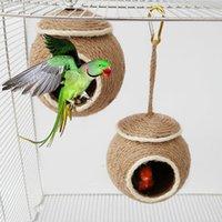 Kuş kafesleri küçük pet papağan hamster hindistan cevizi kabuğu ev yuva asılı salıncak hamak çiğnemek oyuncak kuşlar sincap kafes
