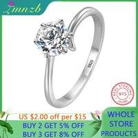 Cluster Rings LMNZB Elegant Solitaire Ring Genuine 925 Sterling Silver Wedding For Women 6mm 1 CZ Diamant Engagement LR404