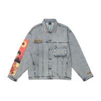 Boyama Patchwork Nakış Denim Ceketler Hip Hop Rahat Gevşek Jean Ceket Streetwear Moda Dış Giyim Mont