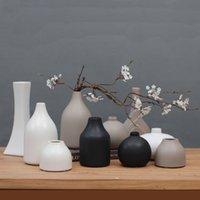 Vase en céramique noir / blanc classique Arts chinois et artisanat contractuel bouteille de fleur de porcelaine créative cadeau créatif décoration de la maison 210310
