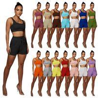 İki Parça Yoga Setleri Düz Kadın Eşofman Katı Renk Jogger Suit Bayanlar Kıyafetler Yaz Giysileri Kolsuz Tank Üst + Şort 2XL Tenis Spor 15 Renkler 5175