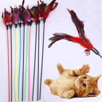 الريش الجرس الحيوانات الأليفة اللعب لينة الملونة قضيب لعبة للقطط هريرة مضحك لعب اللوازم التفاعلية القط wll216
