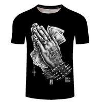 Novo produto criativo mãos pintando dólar nota 3d t-shirt digital manga curta dos homens