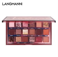 Langmanni Nude Natural 18-Color Eyeshadow Tray Matte Pearlescent Powder Multicolored Eye Shadow Palette Fashionable Color Bold Outline Rose Eyes
