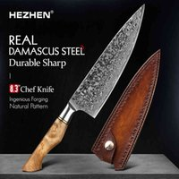 Hezhen 8.3 Professional cooking knives 67 Layers Damascus Steel Super Chef Mes Razor Sharp Japanese Core Blade Kitchen