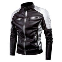 Men's Jackets 2021 Winter S Men Coat Contrast Colors Stand Collar Casual Motor Slim Vintage Classic Faux Leather Jacket