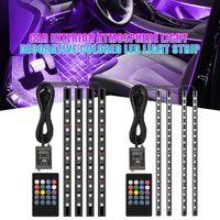 Interior&External Lights Car Foot Floor Decoration Bulbs Interior Atmosphere Light RGB LED Strip Lamp Wireless Music Remote Control Multiple
