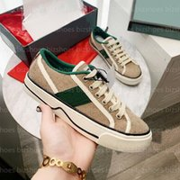 TENNIS 1977 قماش عارضة أحذية فصريون مصممين إمرأة حذاء إيطاليا الأخضر والأحمر ويب شريطية المطاط الوحيد تمتد القطن منخفضة أعلى رجل حذاء